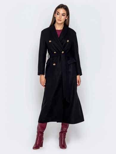 Длинное пальто в стиле oversize с поясом чёрное 40999, фото 1