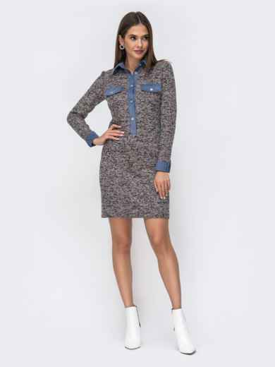 Обтягивающее платье из фактурного трикотажа серое 42014, фото 2