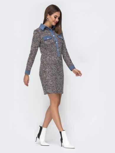 Обтягивающее платье из фактурного трикотажа серое 42014, фото 3