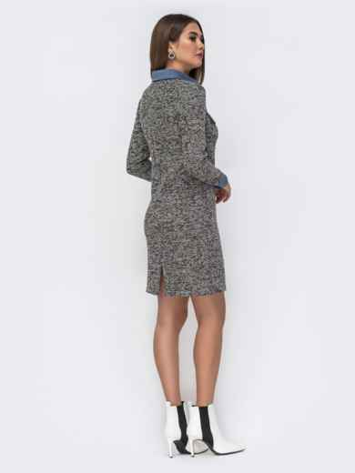 Обтягивающее платье из фактурного трикотажа серое 42014, фото 4
