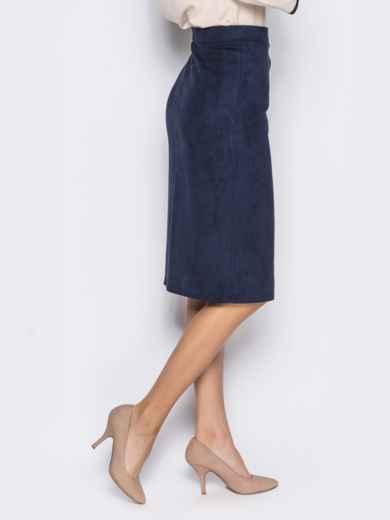 Юбка-миди из замшевой ткани с функциональными кнопками тёмно-синяя 14388, фото 2
