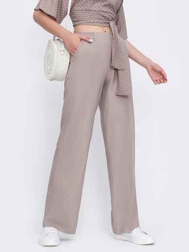 Бежевые брюки-клёш с удобными карманами 48814, фото 1