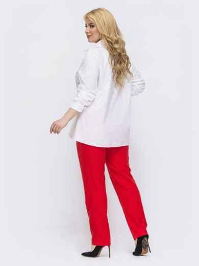Красный комплект батал с белой блузкой 46019, фото 2