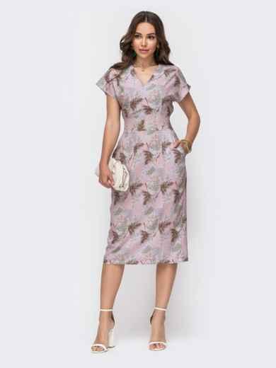 Приталенное платье с принтом и V-вырезом пудровое 49323, фото 2