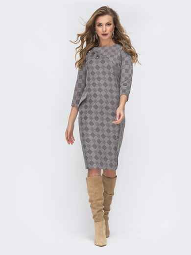 Приталенное платье в клетку серого цвета 44136, фото 1