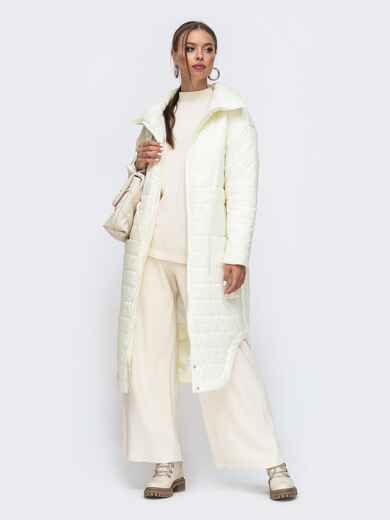 Удлиненная куртка с разрезами по бокам молочная 50646, фото 1