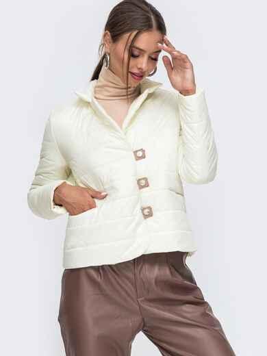 Укороченая куртка молочного цвета на кнопках 50644, фото 1