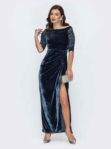 Бархатное платье-макси с открытыми плечами тёмно-синее 51981, фото 2