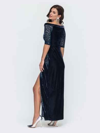 Бархатное платье-макси с открытыми плечами тёмно-синее 51981, фото 3