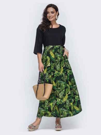 Длинное платье с принтованной юбкой большого размера чёрное 49946, фото 1