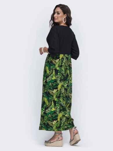 Длинное платье с принтованной юбкой большого размера чёрное 49946, фото 2