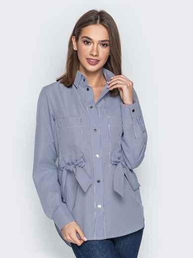 Синяя рубашка в клетку с бантами на карманах 20755, фото 1
