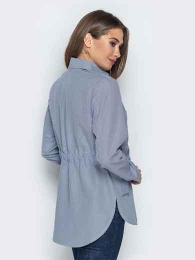 Синяя рубашка в клетку с бантами на карманах 20755, фото 2