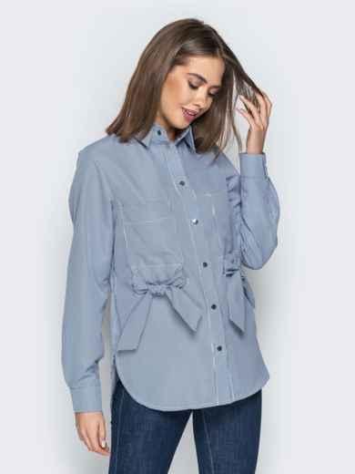 Синяя рубашка в клетку с бантами на карманах 20755, фото 3