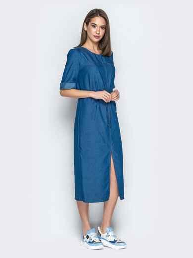 Синее платье из джинса свободного кроя с кулиской по талии 20982, фото 2