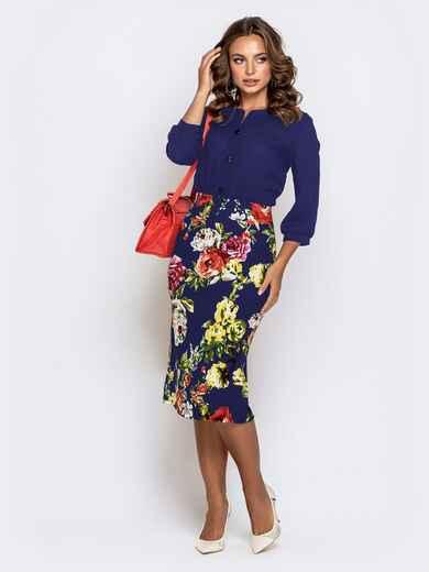 Синее платье с верхом из креп-шифона и принтованной юбкой 42040, фото 1