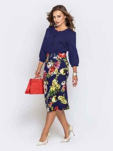 Синее платье с верхом из креп-шифона и принтованной юбкой 42040, фото 2