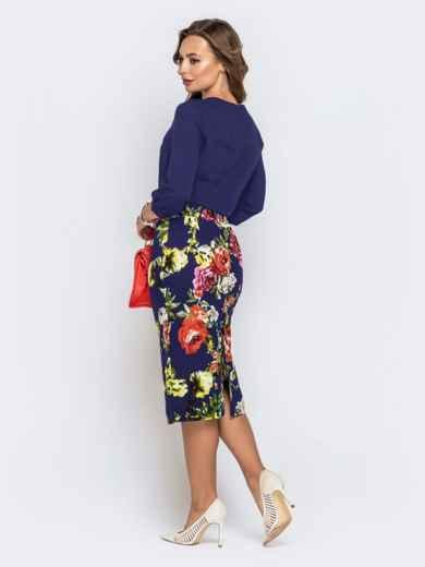 Синее платье с верхом из креп-шифона и принтованной юбкой 42040, фото 3