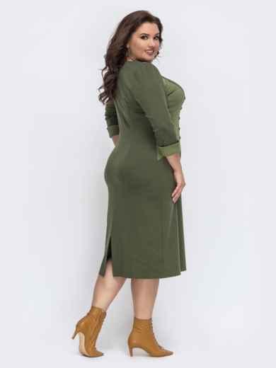 """Трикотажное платье с вырезом """"капля"""" цвета хаки 43234, фото 2"""