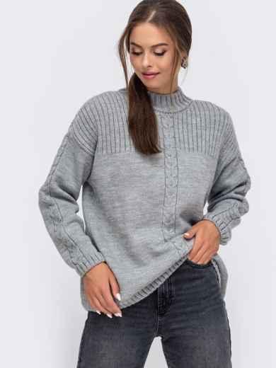 Серый свитер со спущенной линией плечевого шва 50209, фото 2
