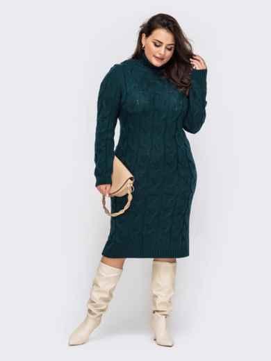 Вязаное платье большого размера с косами зеленое 51574, фото 2