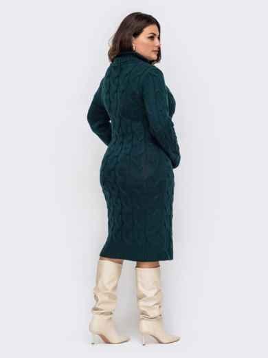Вязаное платье большого размера с косами зеленое 51574, фото 3