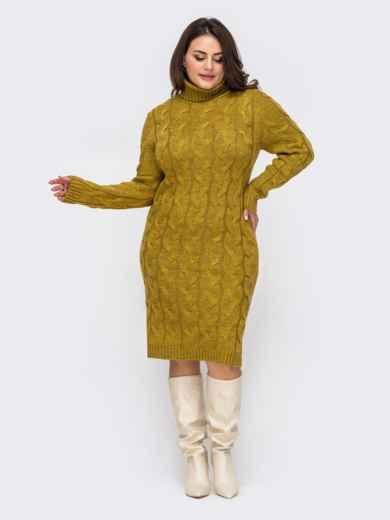 Вязаное платье большого размера с косами желтое 51573, фото 3