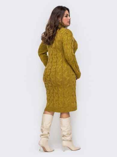 Вязаное платье большого размера с косами желтое 51573, фото 4