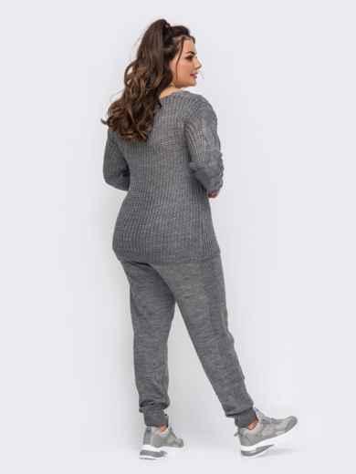 Вязаный костюм большого размера с брюками серый 51579, фото 3