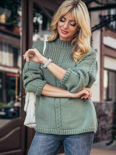 Зеленый свитер со спущенной линией плечевого шва 50208, фото 1