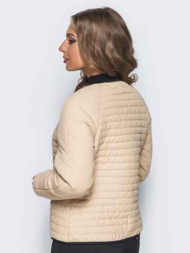 Бежевая стеганая куртка с прорезными карманами 14692, фото 2
