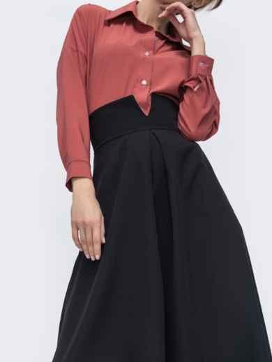 Чёрная юбка-полусолнце с асимметричным поясом 45724, фото 2