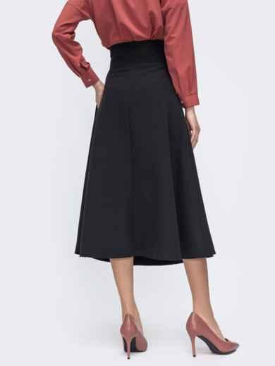 Чёрная юбка-полусолнце с асимметричным поясом 45724, фото 3