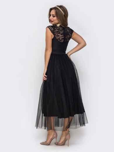 Чёрное платье с фигурным вырезом и гипюровыми вставками чёрное 42837, фото 3