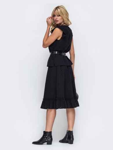 Чёрный комплект из прошвы с блузкой и юбкой-трапецией 50044, фото 2
