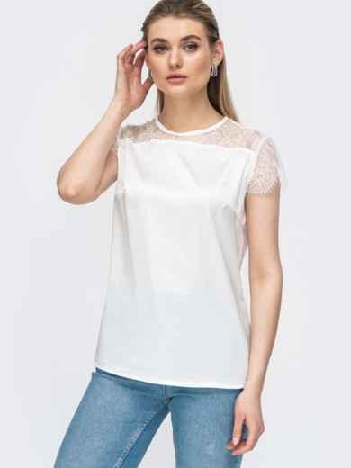 Шелковая блузка с гипюровой кокеткой белая 45711, фото 2