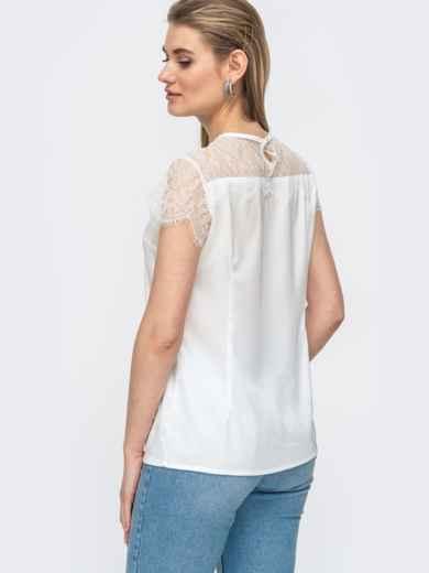 Шелковая блузка с гипюровой кокеткой белая 45711, фото 4