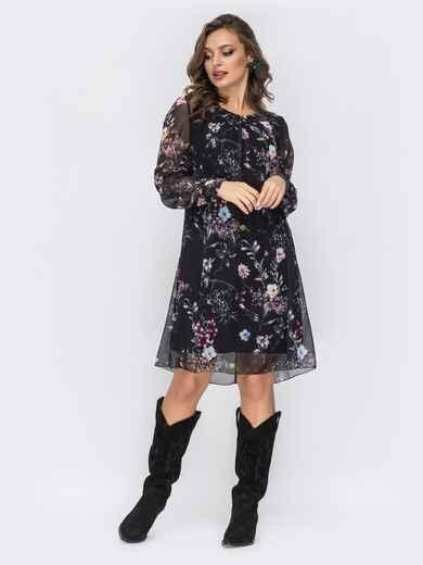 Шифоновое платье с цветочным принтом чёрное 44210, фото 1