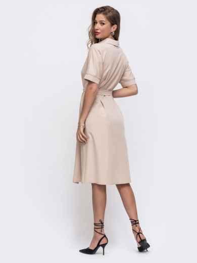 Бежевое платье-рубашка с поясом 49612, фото 2