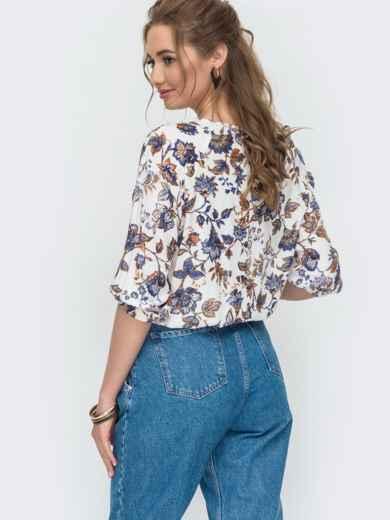 Блузка свободного кроя с голубым принтом на резинке 47003, фото 2