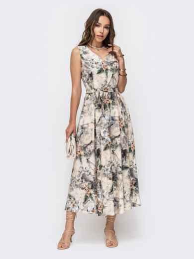 Длинное платье с принтом и расклешенной юбкой бежевое 49343, фото 2