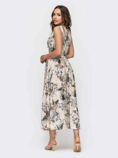 Длинное платье с принтом и расклешенной юбкой бежевое 49343, фото 3