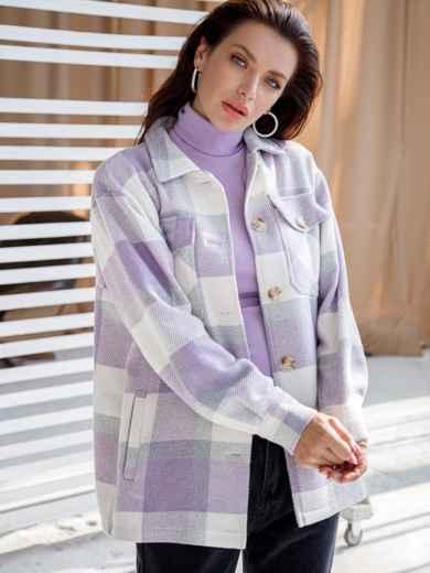 Теплая рубашка в крупную клетку фиолетовая 51230, фото 2