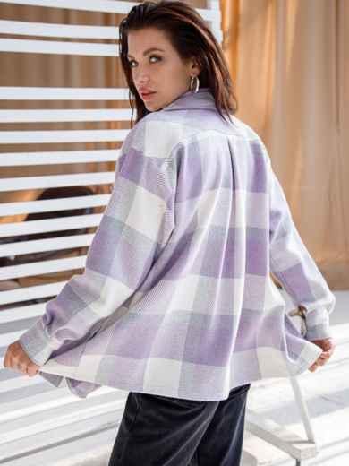 Теплая рубашка в крупную клетку фиолетовая 51230, фото 3