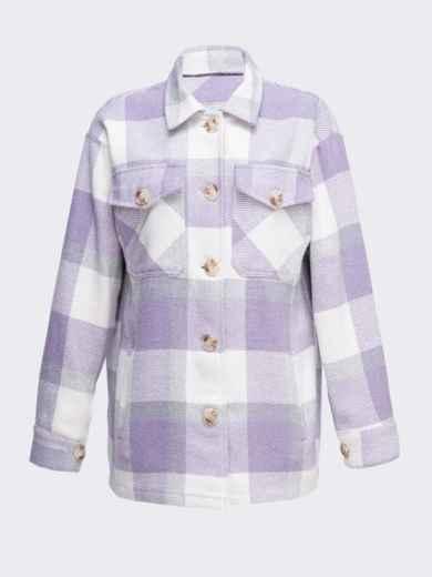 Теплая рубашка в крупную клетку фиолетовая 51230, фото 4