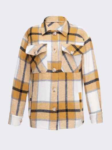 Теплая рубашка в крупную клетку желтая 51229, фото 4