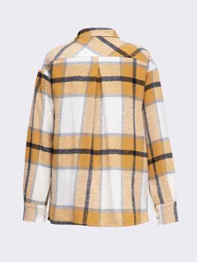 Теплая рубашка в крупную клетку желтая 51229, фото 5