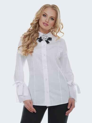 Белая блузка с рукавом-колокол на завязках - 22309, фото 1 – интернет-магазин Dressa