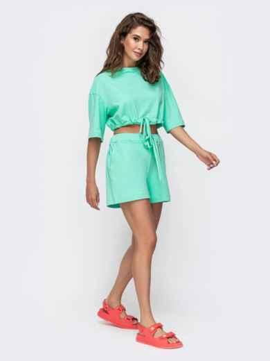 Комплект бирюзового цвета с шортами на кулиске   49347, фото 2