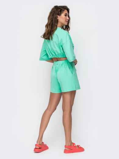 Комплект бирюзового цвета с шортами на кулиске   49347, фото 4
